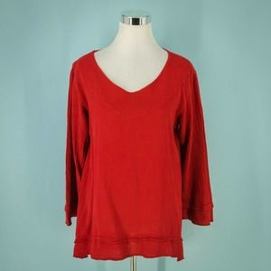Cottonways 1/M Red Cotton Gauze Tunic Top